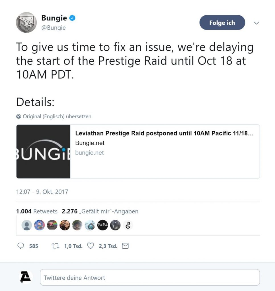 Bungies Tweet