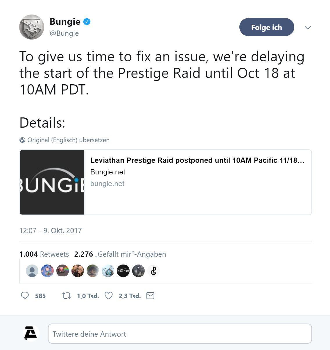 Prestige-Mode Raid verschoben - Destiny Infobase