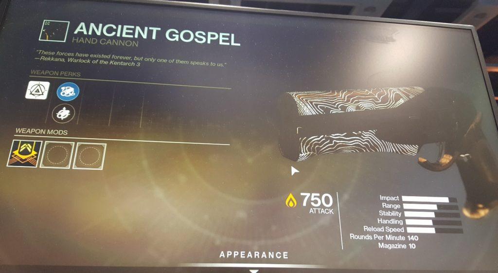 Eine der neuen Raid-Waffen: Ancient Gospel.