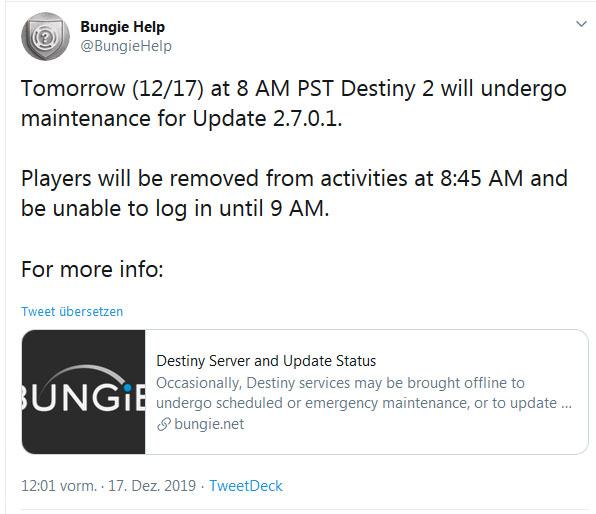 Destiny 2 Wartung und Update
