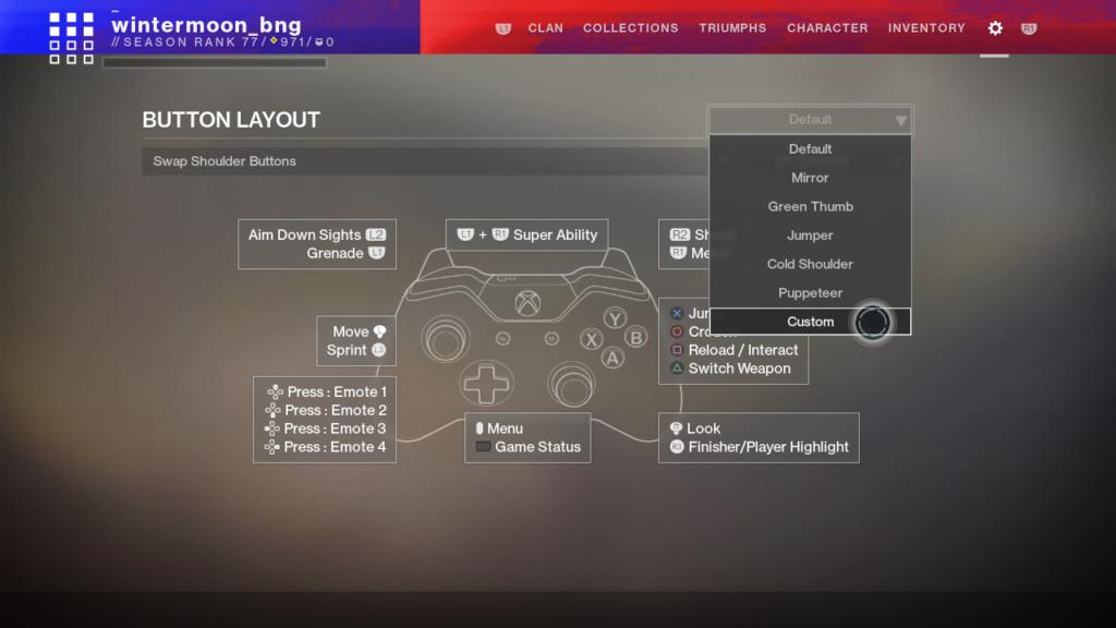 Destiny 2 neues Knopf Layout Controller Belegung