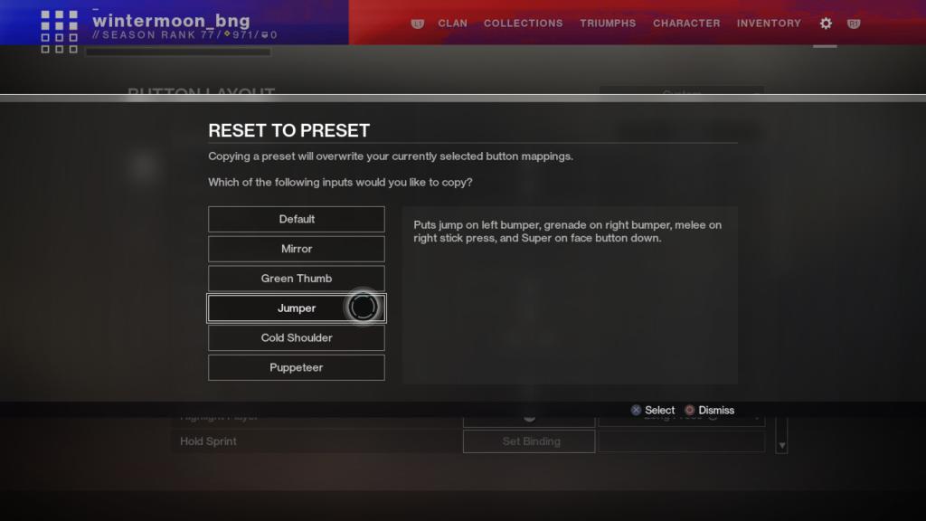 Destiny 2 Controller Belegung Reset