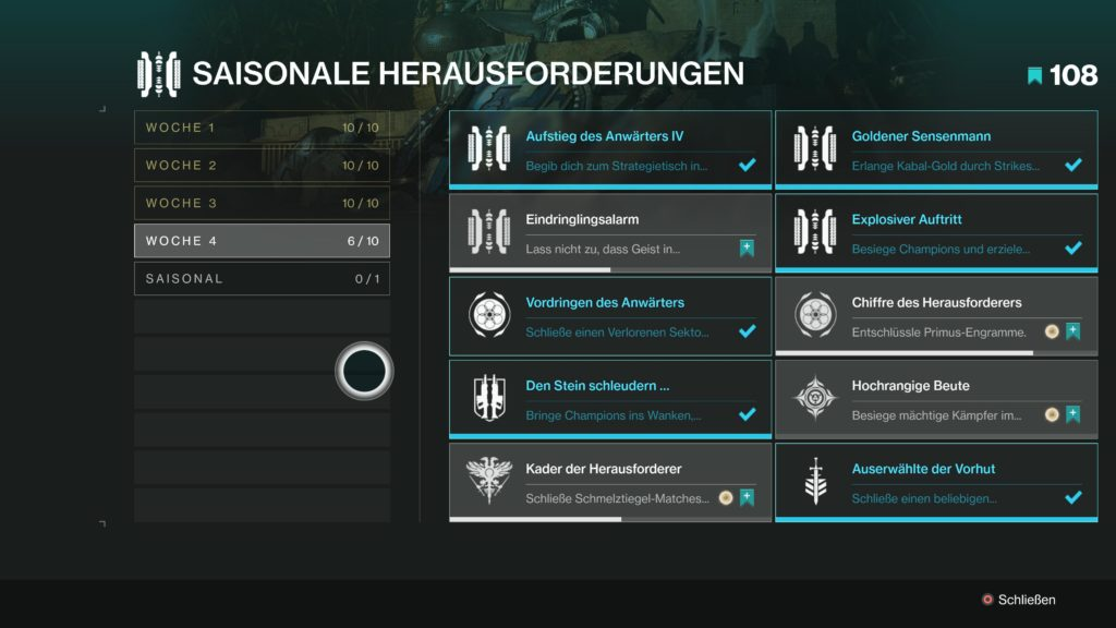 Destiny 2 Herausforderungen