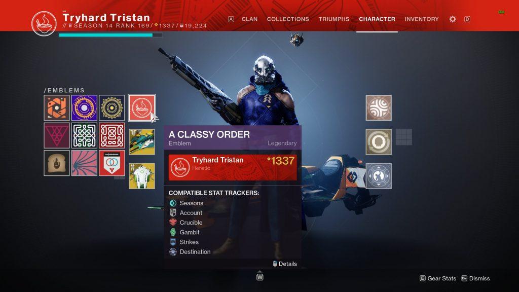 """PC-Spieler zeigt Emblem """"A Classy Order""""."""