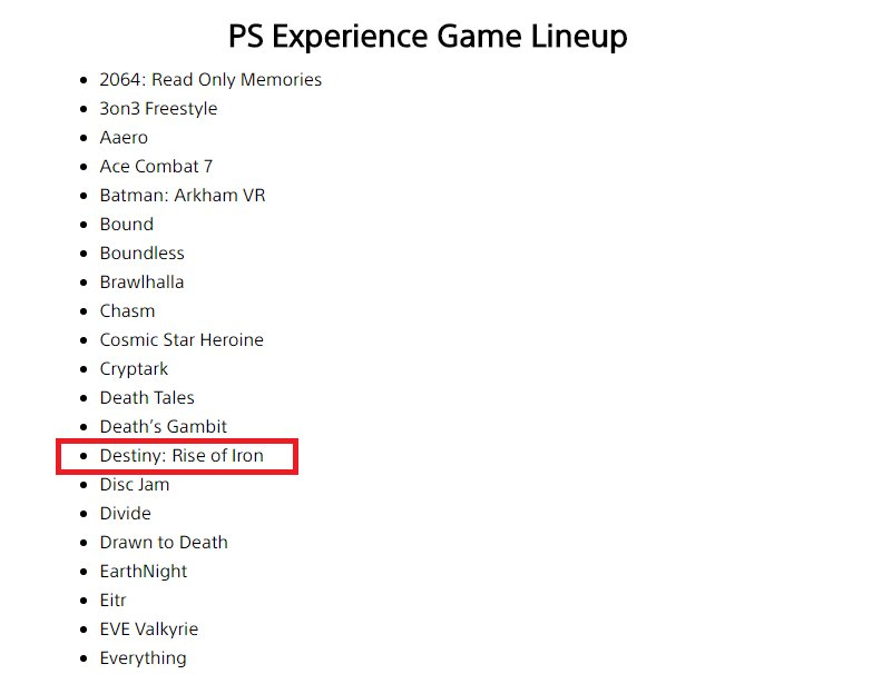 PlayStation Experience line-up
